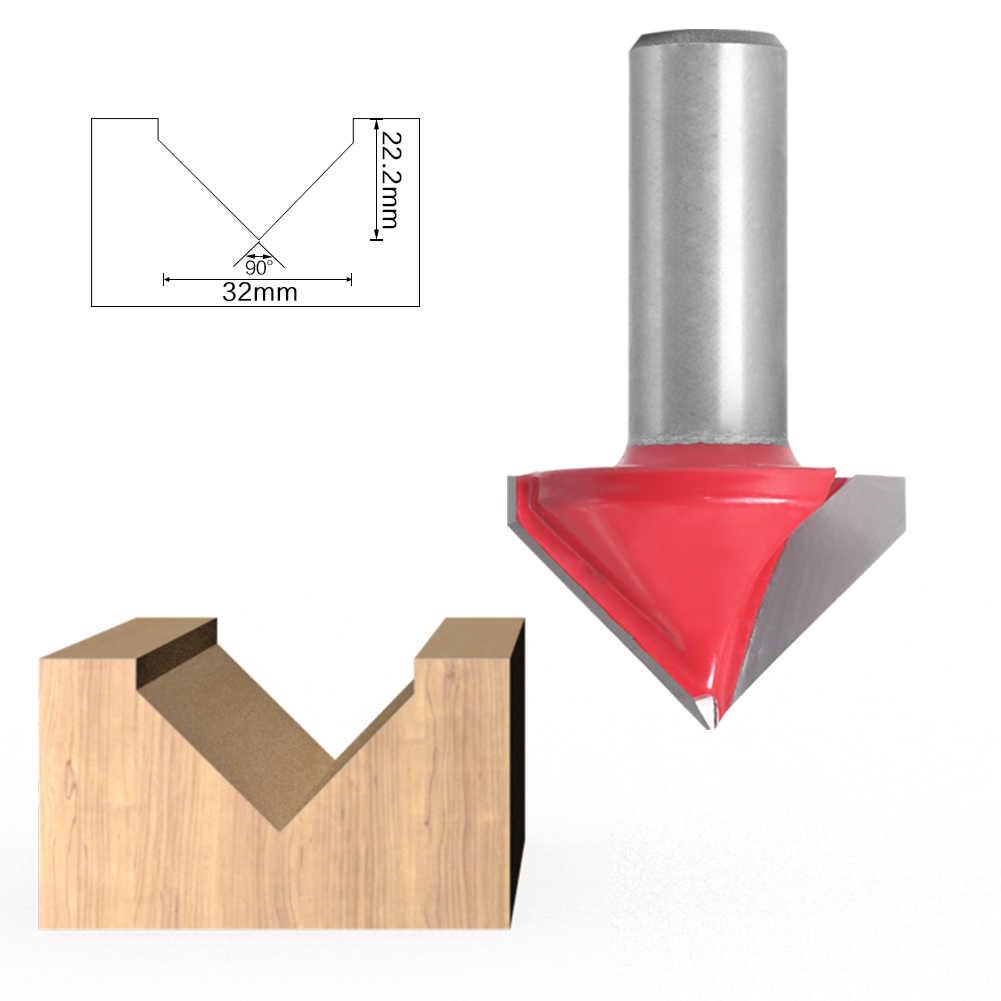 """Sherui 1pc 12mm 1/2 """"shank v groove roteador bits cnc gravura fresa 90-120 graus carpintaria carpintaria escultura faca de tungstênio carro"""