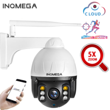INQMEGA caméra de surveillance dôme extérieure PTZ IP WIFI Cloud 2MP/1080P, dispositif de sécurité sans fil, avec suivi automatique, zoom optique x5 et protocole Onvif