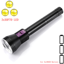 Newest High lumens LED Diving Flashlight 3 x XHP70.2 White / Yellow light Underwater 100M Waterproof Tactical Torch dive lamp
