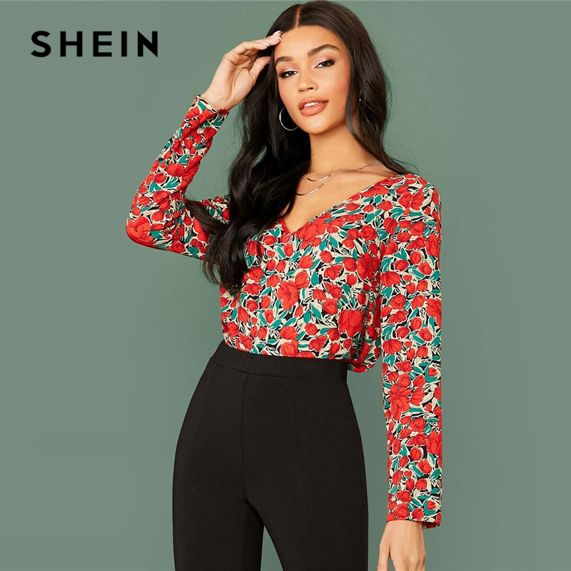 SHEIN Multicolor V Neck Floral Print Casual Blouse Women Tops 2020 Spring Streetwear Long Sleeve Elegant Ladies Basic Blouses 1