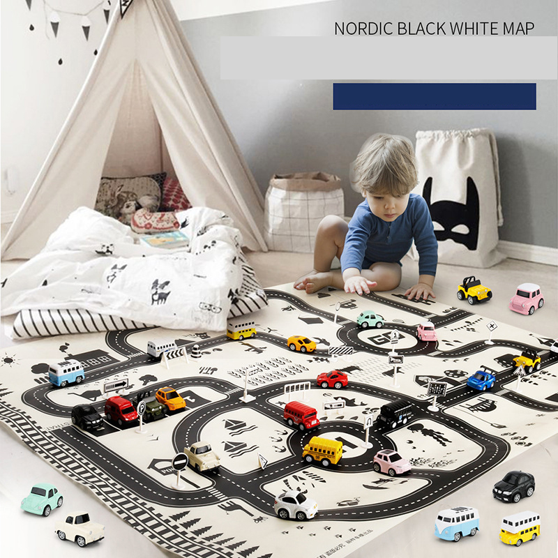 <font><b>130*100CM</b></font> Mat for Children City Map Car Toys Model Crawling Mat Game Pad for Children Interactive Play House Toys Road Carpet image