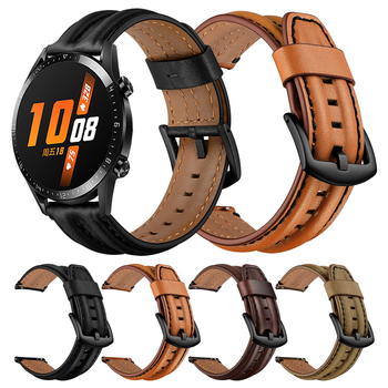 Genuine Leather Band For HUAWEI WATCH GT 2 46mm GT2 Smartwatch Strap Watchband for HONOR Magic Watch 2 46mm MagicWatch bracelet 22mm watch strap for huawei honor magic watch 2 gt 2 46mm gt 42mm genuine leather band silicone bracelet watchbands ремешок