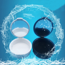 Dustproof Container for Dentures Plastic Inner Net Tooth Case Dental Storage Orthodontic Boxes with Brush Cleaning Alcohol Pad