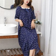Nightdress Women Cotton Soft Dot Printed Sleepwear Sexy Breathable Women'dress Casual Nightie Home Clothes Sleepdress Plus Size
