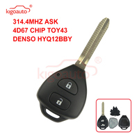 Kigoauto DENSO HYQ12BBY 원격 키 2 버튼 TOY43 for Toyota Corolla Camry + 314.4mhz + 4D67