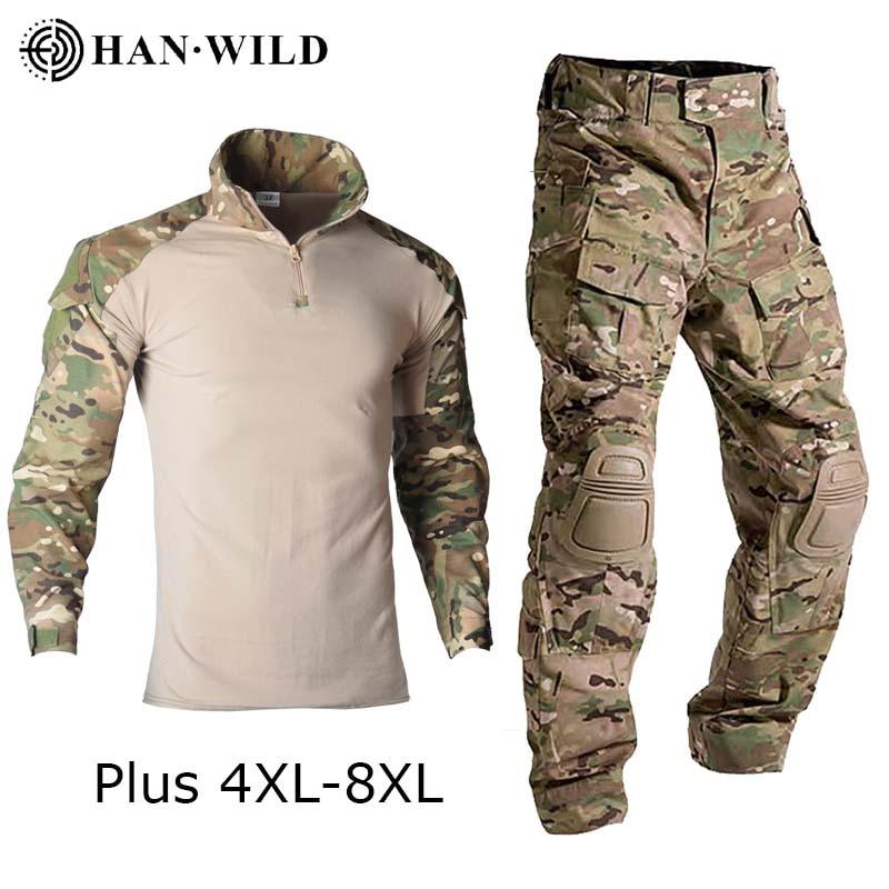 Taktische Tarnung Uniform Armee Airsoft Paintball Ausbildung Kleidung Combat Shirt oder Cargo Hosen mit Pads Plus 8xl