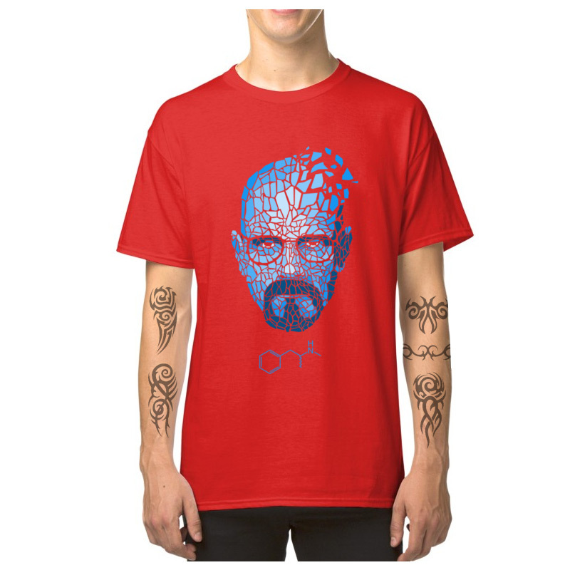 Heisenberg_Blue_-_Breaking_Bad_3256 Short Sleeve T Shirt Round Collar Pure Cotton Men T-shirts Cool Tops T Shirt Family Heisenberg_Blue_-_Breaking_Bad_3256 red
