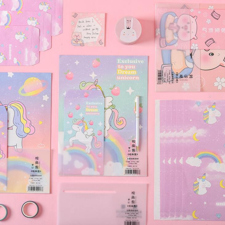 2020 Sharkbang Cartoon Kawaii Unicorn Envelope Letter Papers Festival Gift Card Seasonal Kids Birthday Greetings Card