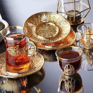 Saucers-Set Tea-Cups Arabic Turkish Made-In-Turkey Silver Handmade Gold for Six-People