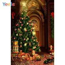 Yeele Christmas Backdrop Vintage Royal Arched Door Tree Toy Doll Photography Background For Photo Studio Vinyl Photophone Shoot(China)