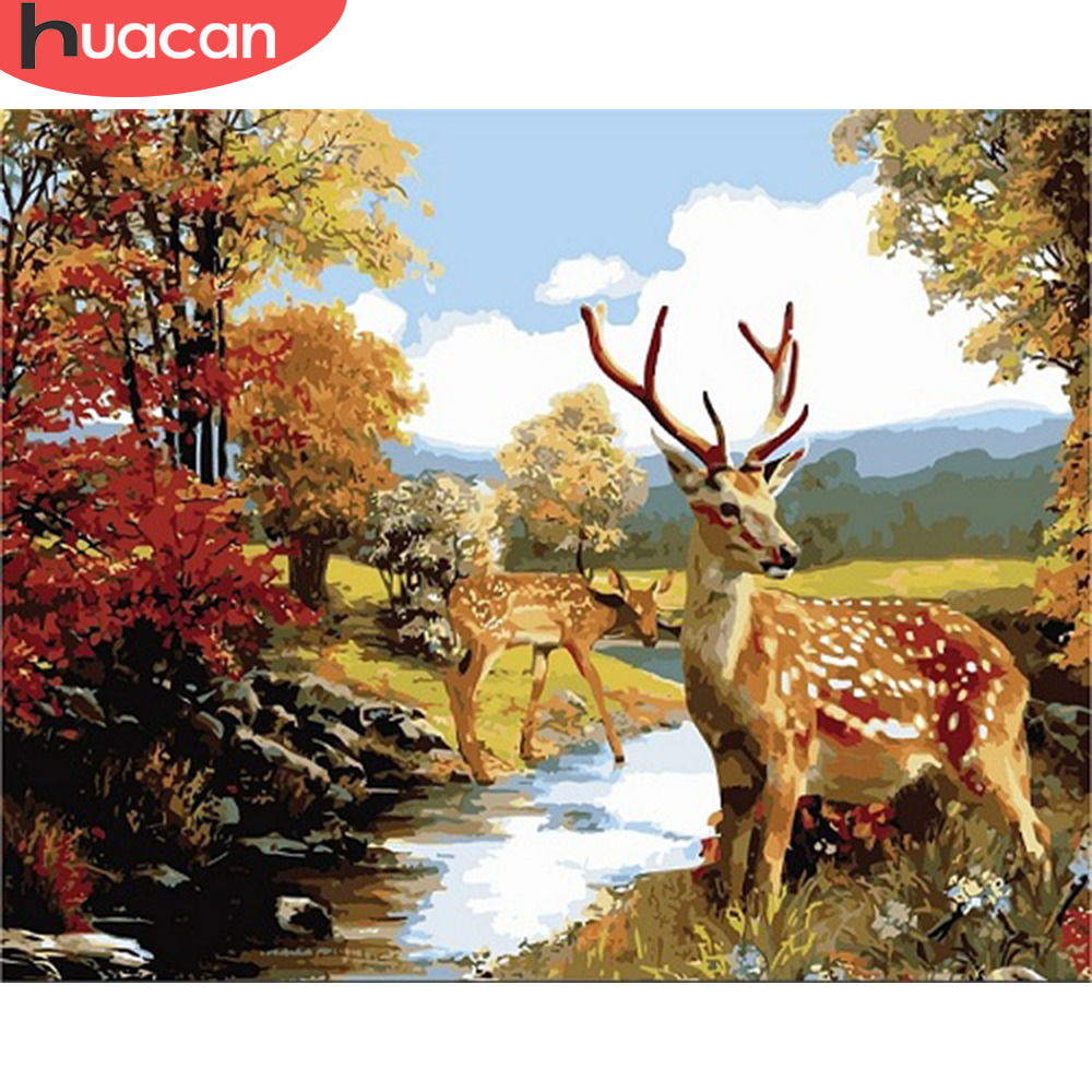 HUACAN Pictures By Numbers Kits Deer Animals Oil Painting Autumn Drawing Canvas HandPainted DIY Home Decoration Gift
