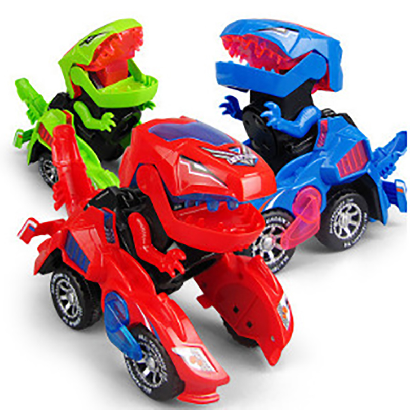 Kids Toys Car 3D Deformation LED Dinosaur Play Vehicles With Light Flashing Music For Children Christmas Gift