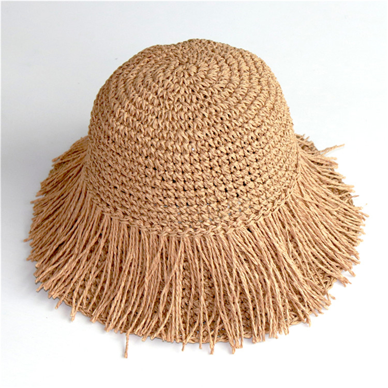 2019 New Tassel Straw Sun Hat Foldable Ladies Summer Hats Floppy Visor Caps Girl Protection Bucket Hat 3 Colors Korean Hat