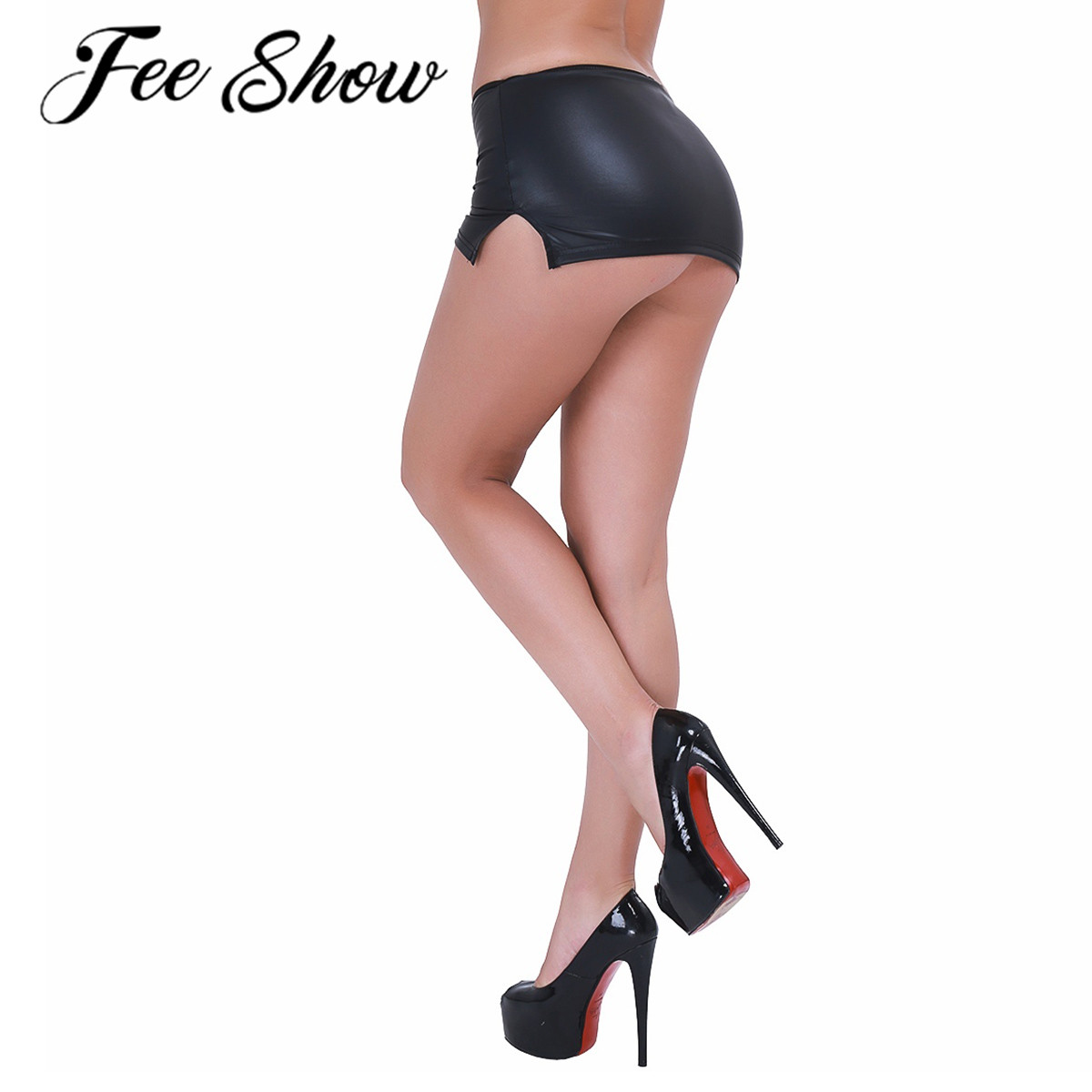 Sexy Women Latex Mini Skirt & G-string Suit Ladies Wetlook Leather Evening Party Clubwear Dance Costume Rave Carnival Clothing