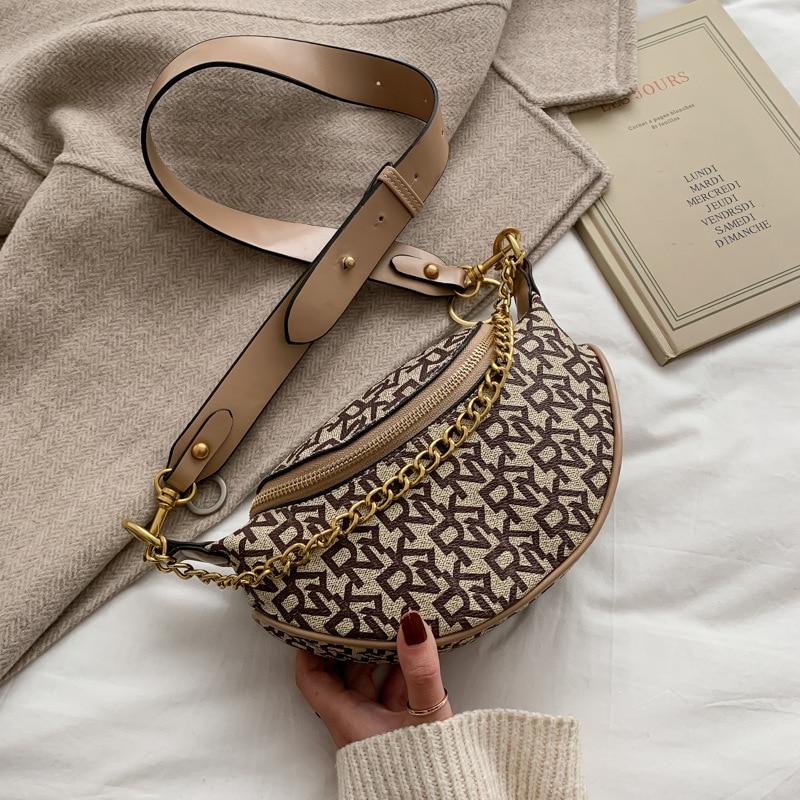 Women Fashion Letter Print Designer Chest Bag Casual Chain Crossbody Bag INS Personality Brand Wild Broadband Belt Bags Purse