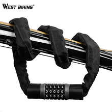 WEST BIKING Long Safty Chain Lock For Bike Anti-theft Steel Password Code Motorcycle Lock Cycling Electric Bicycle Accoessories