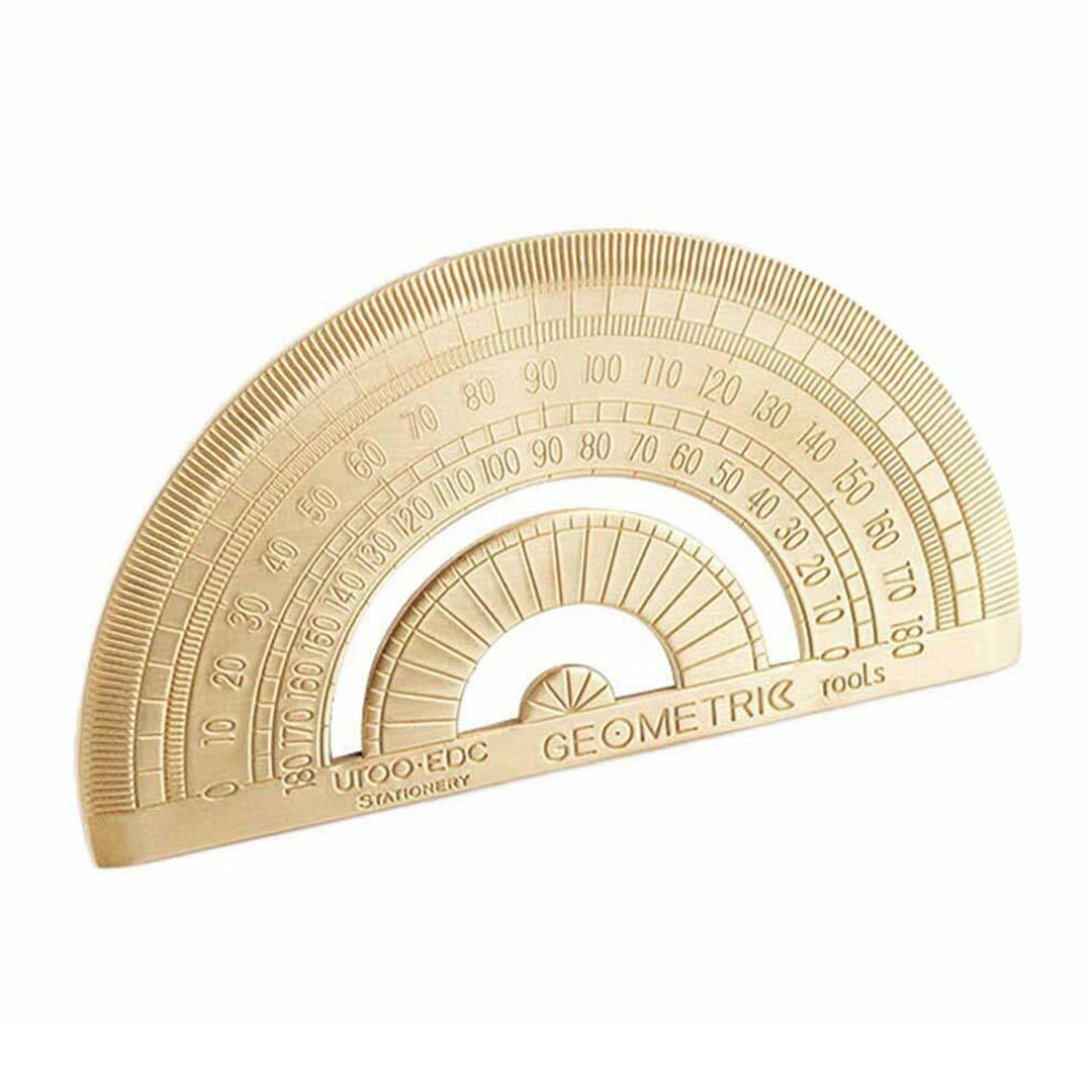 1pc Brass Copper Semicircle Ruler Stationery Golden Retro Protractor Drawing Ruler Measuring Tool School Painting Supply