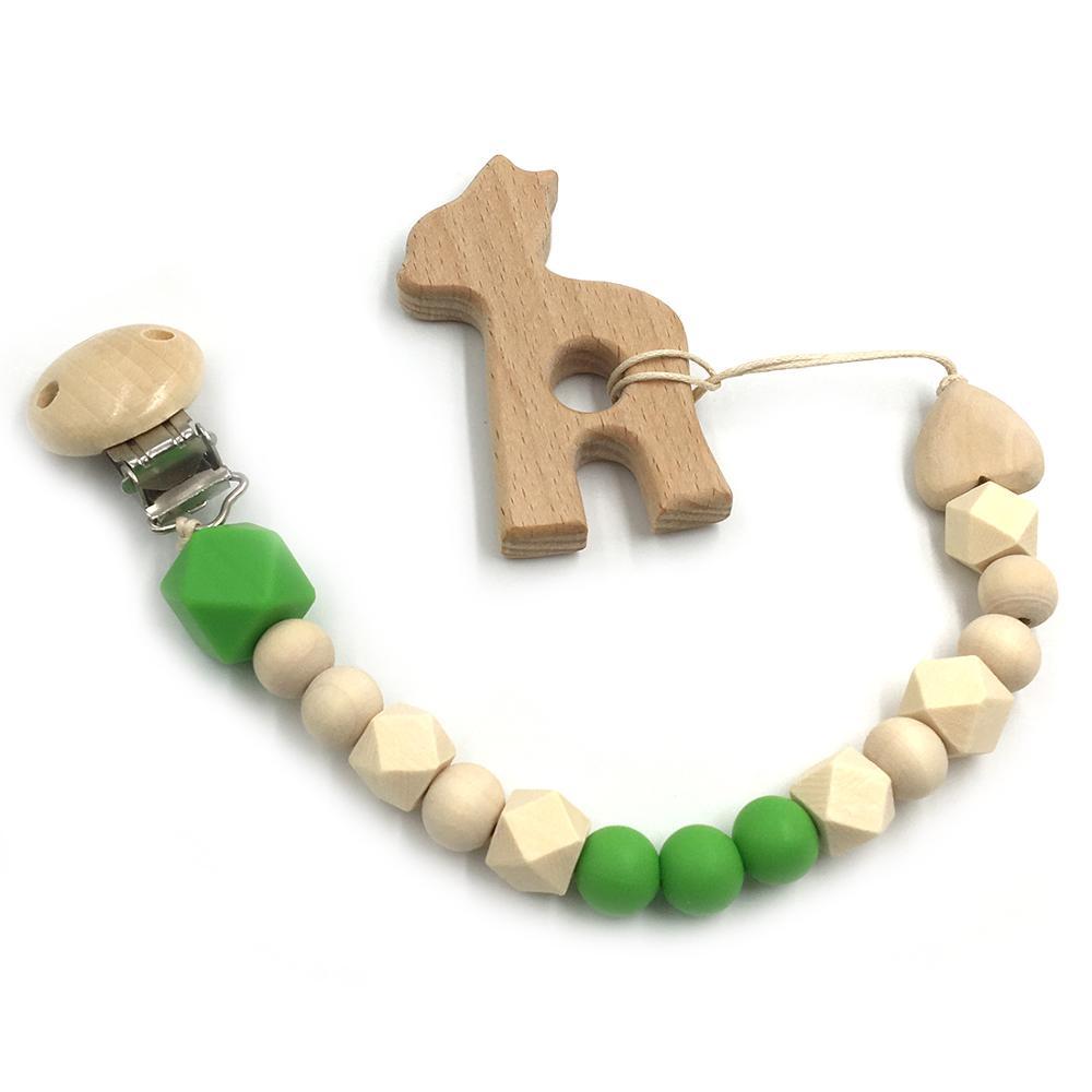 green alpaca wooden toy
