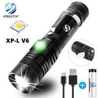 Linterna LED ultrabrillante con XP-L lámpara LED V6, cuentas, resistente al agua, con zoom, 4 modos de iluminación, carga USB multifunción