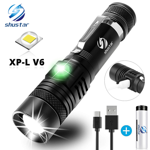 Ultra Bright LED Flashlight With XP L V6 LED lamp beads Waterproof Torch Zoomable 4 lighting modes Multi function USB charging