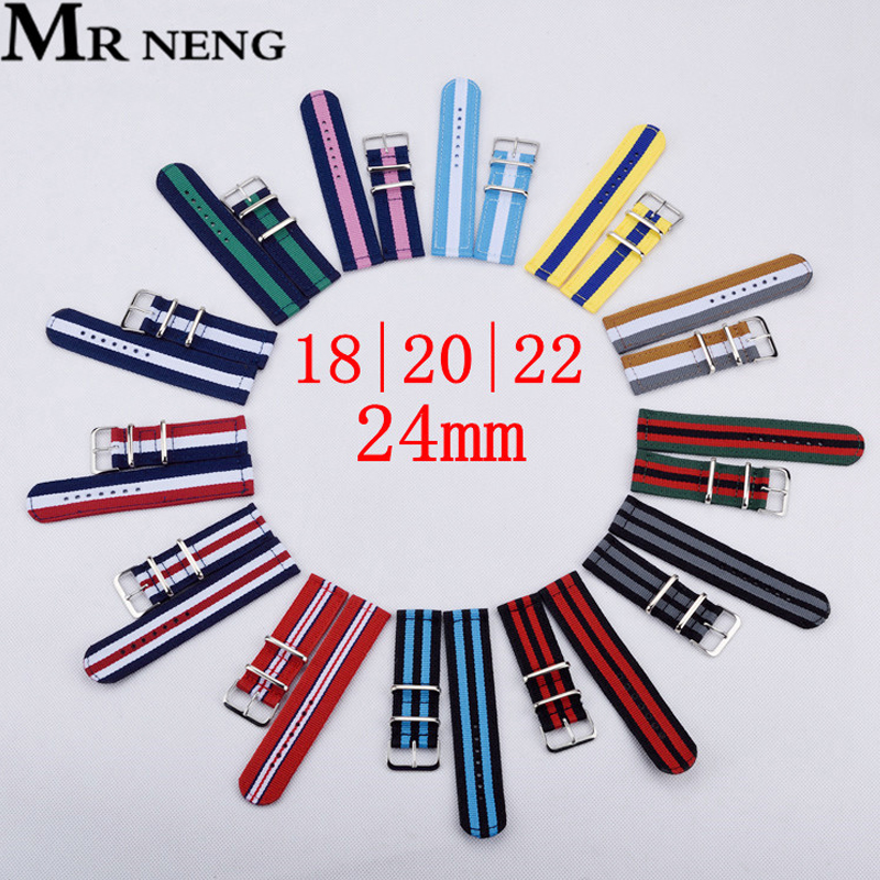 22mm Nylon Watch Strap 20mm Watchband 18mm Nato Strap Solid Color Watch Belts For Samsung Gear S3 For Xiaomi Huami Amazfit Band