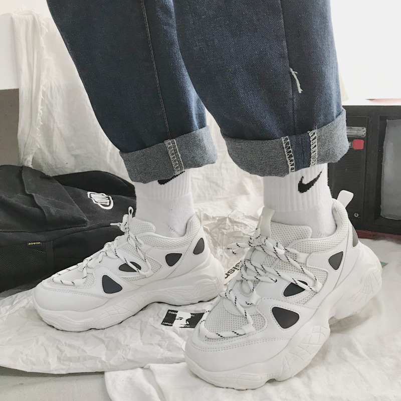 2020 Women Chunky Sneakers Platform White Vulcanized Shoes Woman Lace Up Korean Fashion Ladies Sports Breathable Casual Shoes 1