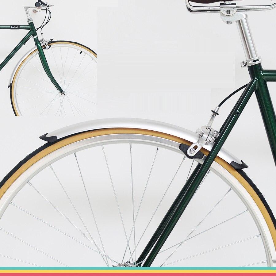 Серебряные передние и задние крылья для велосипеда, 1 комплект, ретро велосипед 700C 23C 25C, грязезащитные Крылья, дорожный велосипед, брызговик,...