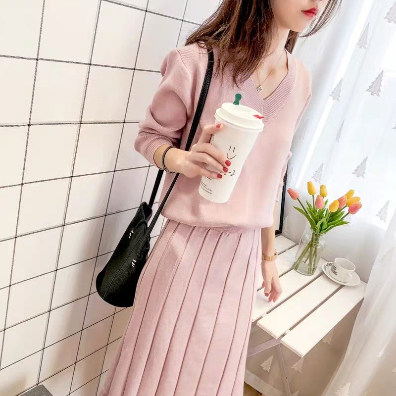 Women Sweater Skirt Two-piece  Female 2019 Autumn And Winter New Korean Fashion Knit Suit Pullover And Skirt Warm Solid V Neck