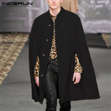 INCERUN Winter Fashion Men Cloak Coats Solid Casual Faux Blends Fleece Trench Overcoat 2021 Stand Collar Streetwear Jackets 5XL