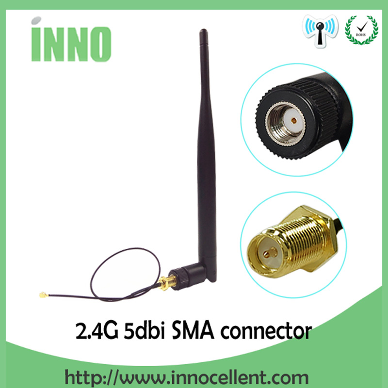 2.4 GHz Antenna Wifi 5dBi RP-SMA Male 2.4G Antena Wi Fi Antenne For Router Antenas + SMA Male To Ufl./ IPX 1.13 Pigtail Cable