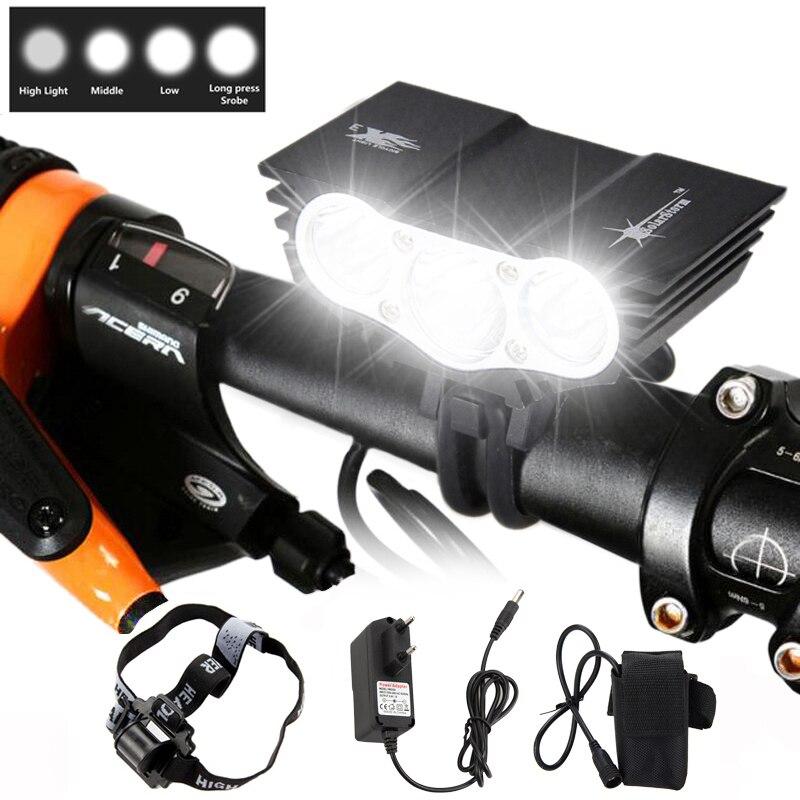 3xXM-L T6 LED vélo lumière vélo lumières phare + 12000mAh batterie Pack + bandeau avec chargeur