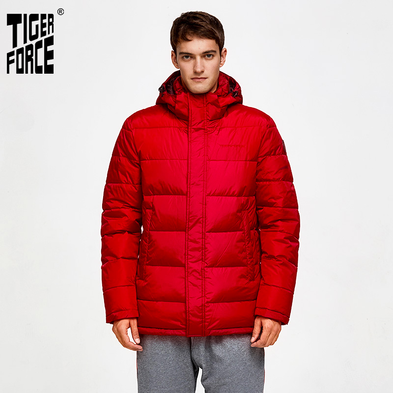 TIGER FORCE Winter Men Padded Coat Fashion Parka Thick Warm Jacket Windproof Coats Thickening Casual Hooded Jackets