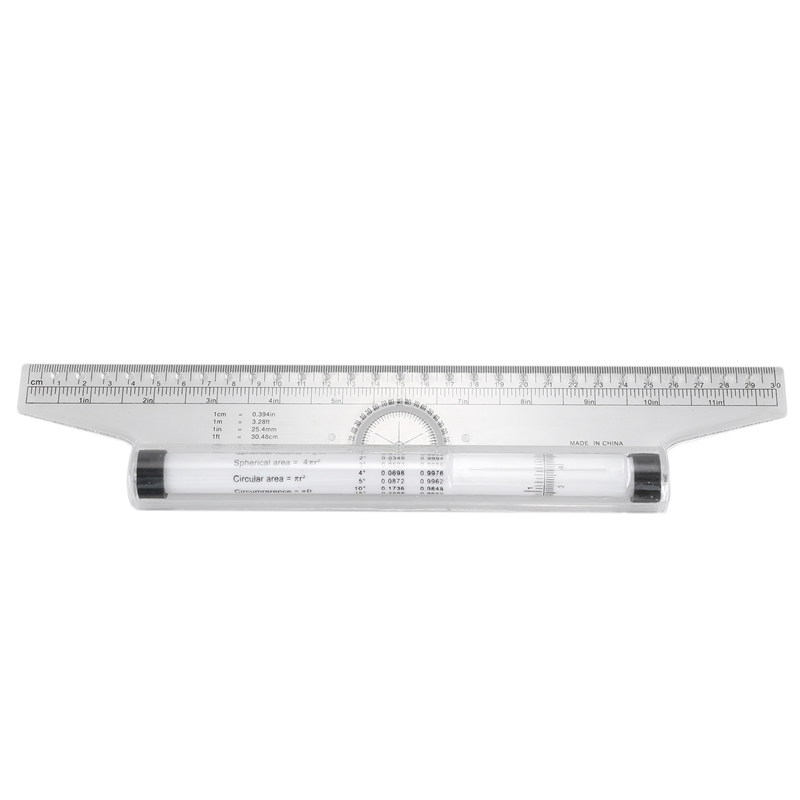 Multi-purpose Measuring Protractor Template Drawing Rolling Rule 30cm