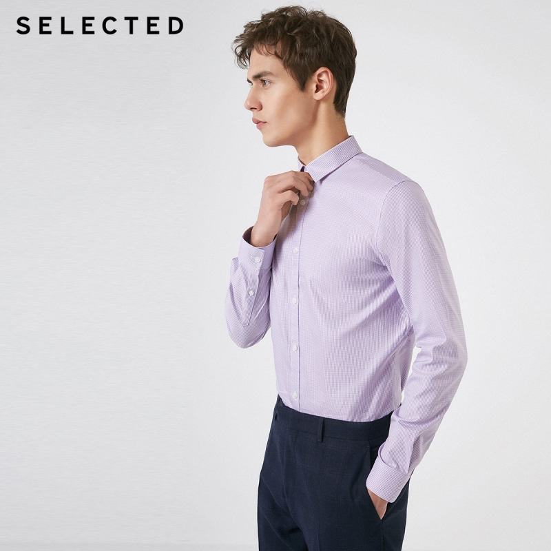 SELECTED Men's Slim Fit Cotton Thin Plaid Business Casual Long-sleeved Shirt S|419105581