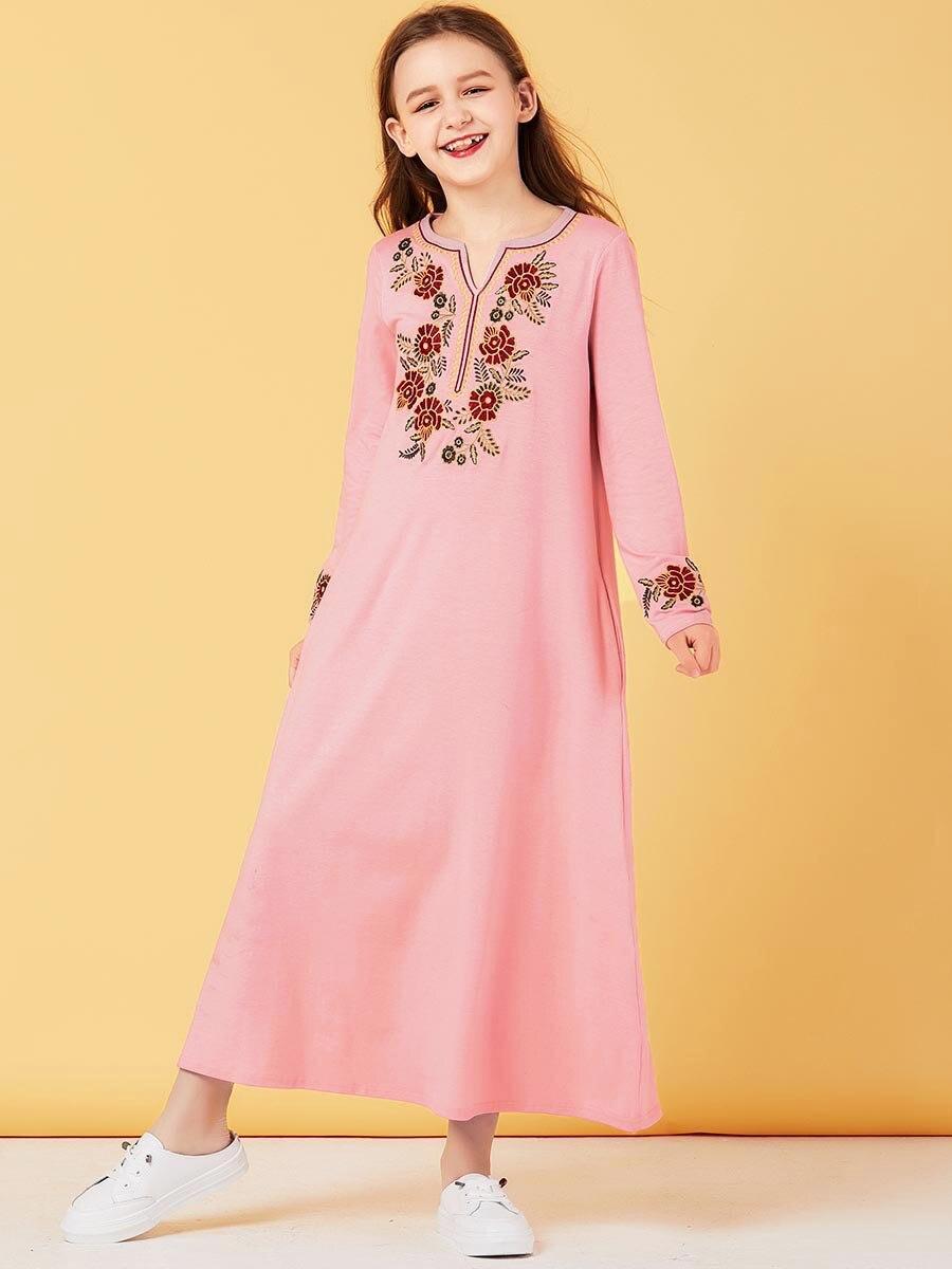 Ramadan Robe Kid embroidery Floral Pink long dress girl Muslim hijab dress turkey kaftan Dubai Kids Abaya dress islamic Clothing