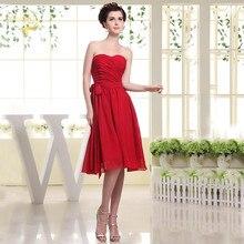Красный шифон невесты Платья Линия длиной до колена простой фрейлина платье Vestidos де coctel Фиеста Ноче Корто