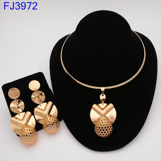 Moda nigeriano mulher casamento africano contas conjunto de jóias cor do ouro moda dubai cor ouro presente de noiva 3