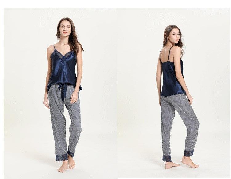mulher pijamas de cetim de seda loungewear