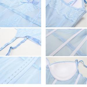 Image 4 - Женское сексуальное нижнее белье, бюстье, комплект нижнего белья в стиле ретро, прозрачный кружевной корсет с эффектом пуш ап