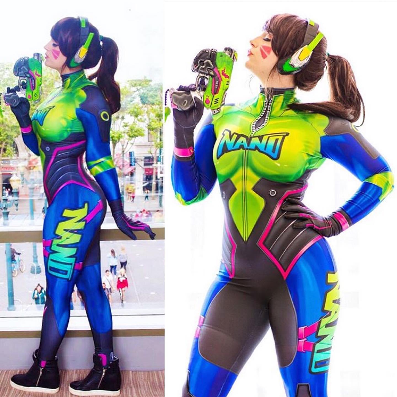 New D.Va Nano Cola Skin Cosplay Costume Harley DVA Game Superhero Catsuit Halloween Zentai Suit Adults Kids Bodysuit