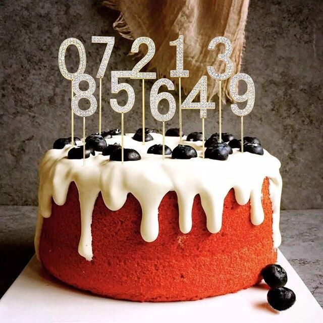1Pc Glitter Numero Cake Toppers Baby Shower Decorazione Di Compleanno di Cerimonia Nuziale del Rhinestone Della Lega di Oro Argento Digital Dolci Da Dessert Decorazione 6