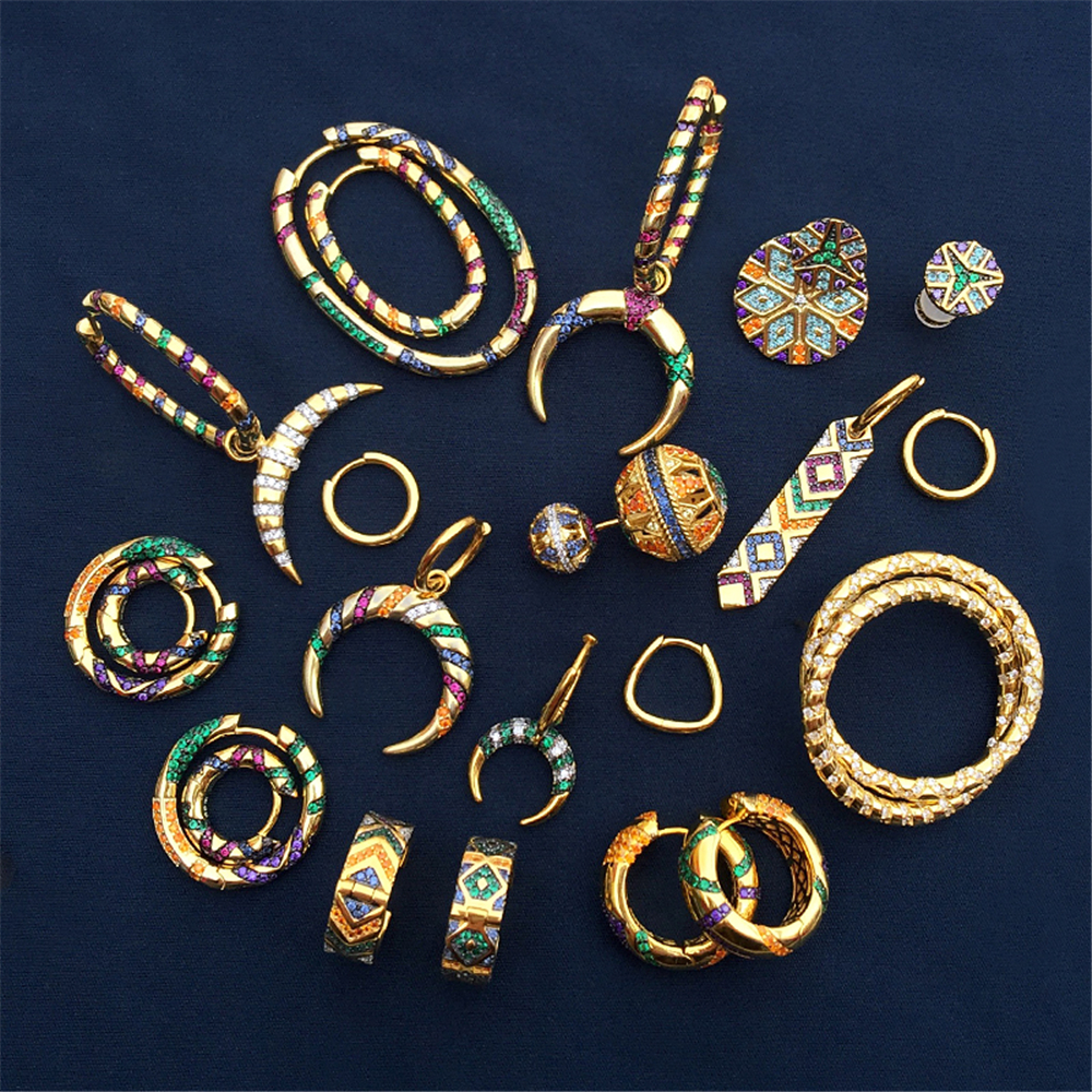 s925 sterling silver gold earrings tribal style women bohemian style earrings personality luxury banquet party fashion jewelry