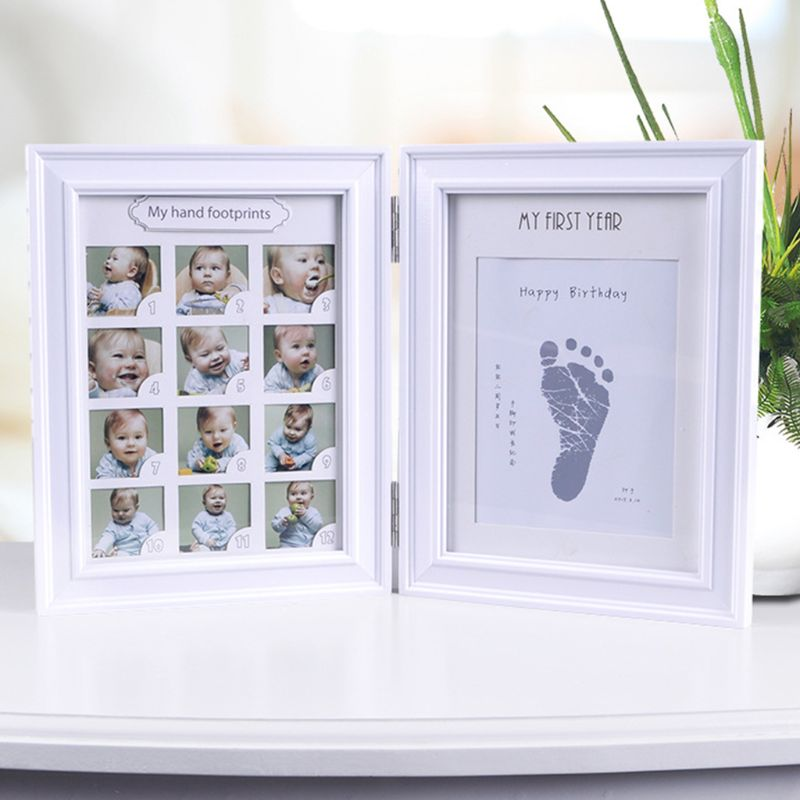Newborn Hand And Foot Print Mud Baby Hundred Days Full Moon Age Growth Commemorative Photo Frame R7RB