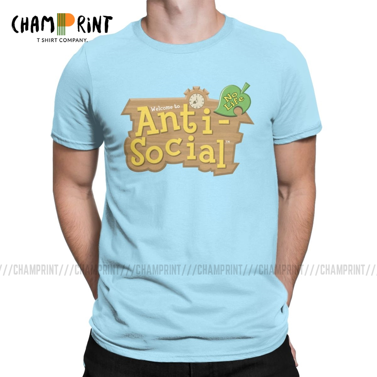 Animal Crossing Anti-Social T Shirts Men Pure Cotton Awesome T-Shirt Crew Neck Tees Short Sleeve Clothing Printing