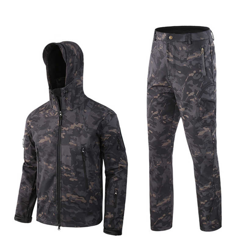 Leger Windjack Haai huid Outdoor Jacht Camping Waterdicht Winddicht Fleece Jassen Jacket Hoody TAD softshell Jas + broek