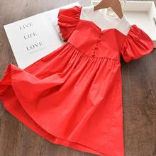 New Girl Party Dress Children Clothing Princess  Red Robe Fille Vestidos Kids Dresses for Girls Causal Wear 3 7 Years lace girl party dress children clothing princess kids dresses for girls causal wear 2 3 5 6 7 years white vestido robe fille