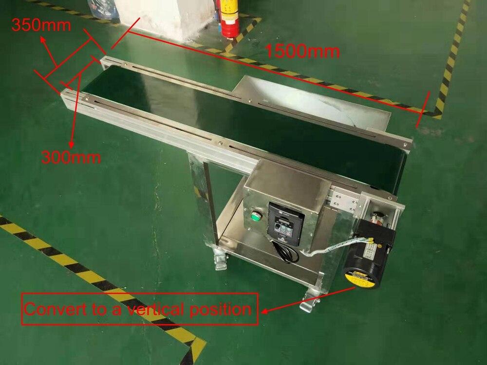 Convoyeur d'imprimante à jet d'encre 60W 1500mm * 350mm * 750mm convoyeur à bande transporteur de bande de Table pour bouteilles/boîte/sac/autocollant