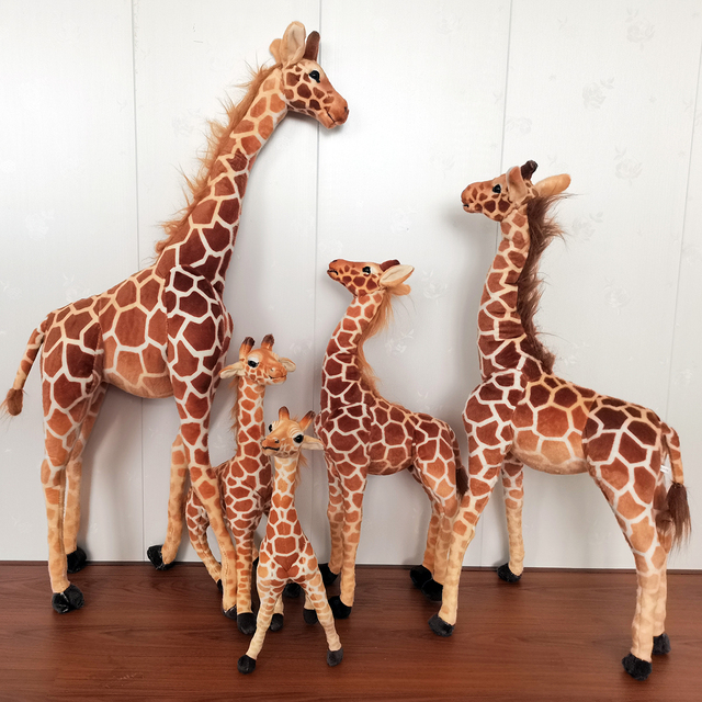 48~125cm Standing Adjustable Giraffe Toy Stuffed Simulated Zoo Animal Plush Doll Jointed Sittable Children Gift 1