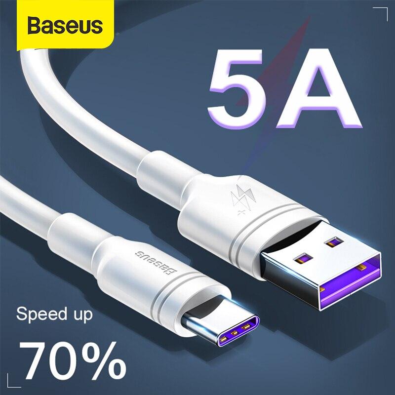 Baseus 5a usb tipo c cabo para p30 companheiro 20 pro p20 carga rápida para xiaomi usb c carregador rápido cabo de dados fio de carregamento