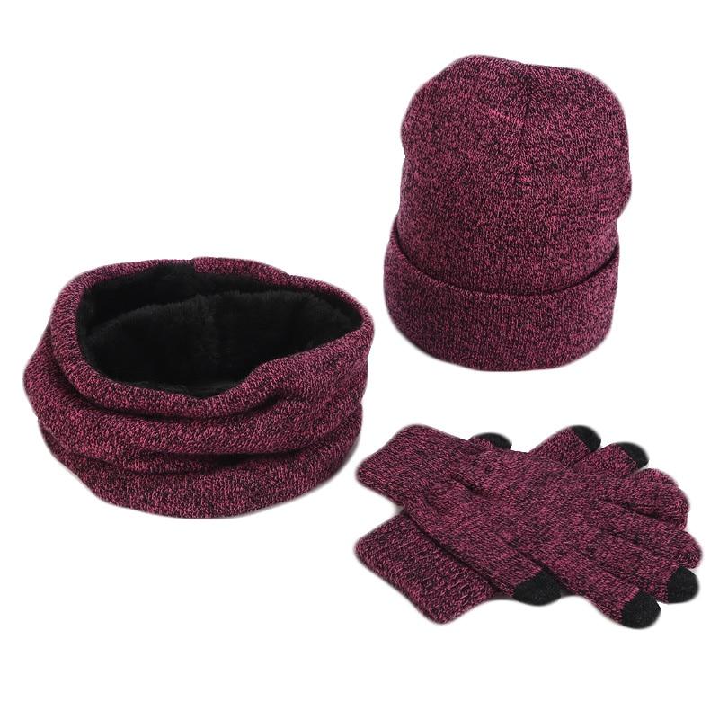 Winter Hats For Women Men Winter Hat Scarf Warm Scarf Hat Gloves Set For Women Female Knit Hat Scarf Set Girl Skullies Beanies